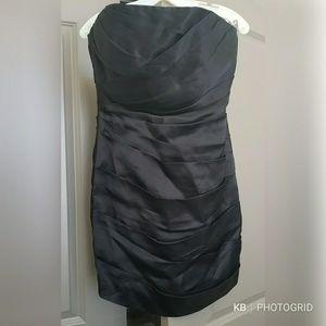 Black Silk Dress with ruchinh